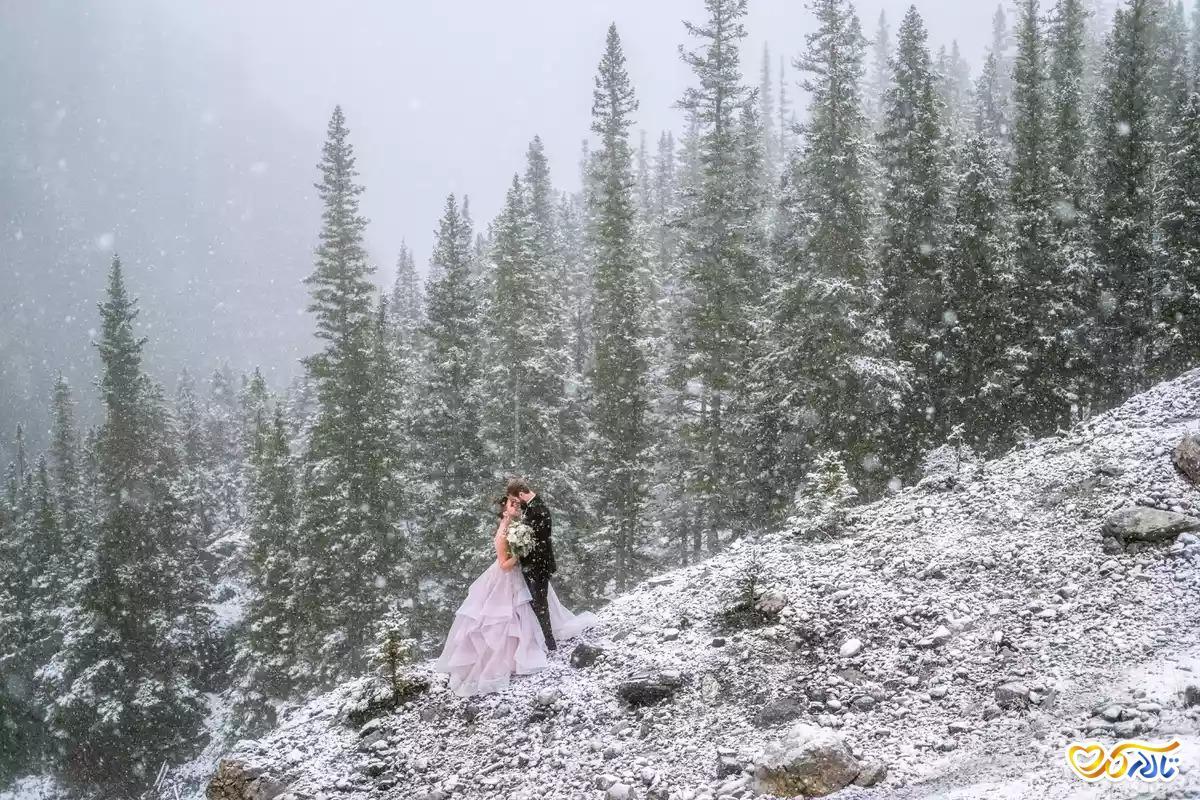 عکس عروسی زمستانی زیبا