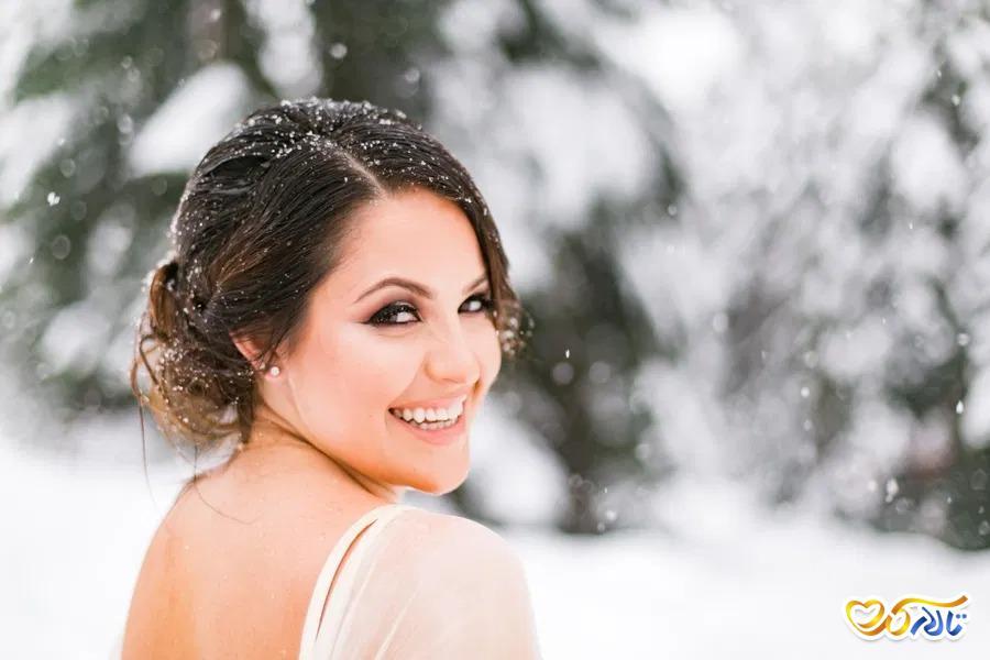 عکس عروس در برف
