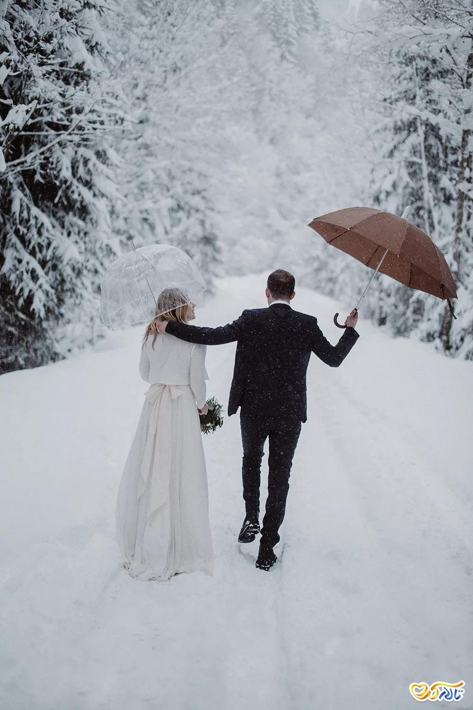 عکس عروس و داماد در برف