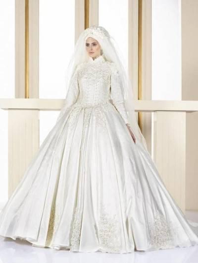 لباس عروس پوشیده خارجی و زیبا و شیک
