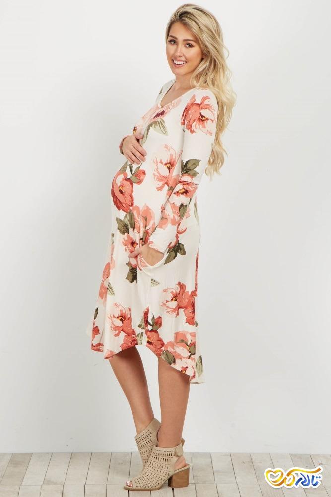 لباس مجلسی بارداری گل گلی