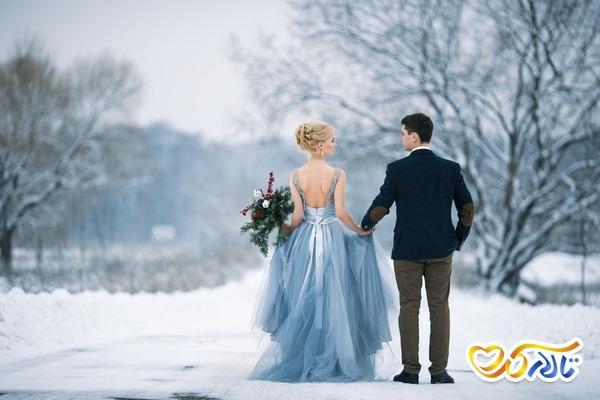 مدل عکس عروس و داماد در زمستان