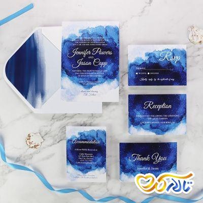 کارت دعوت عروسی آبی