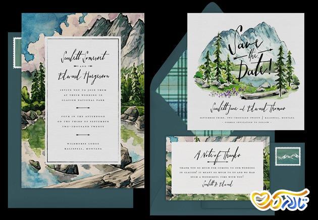 کارت دعوت عروسی رنگارنگ