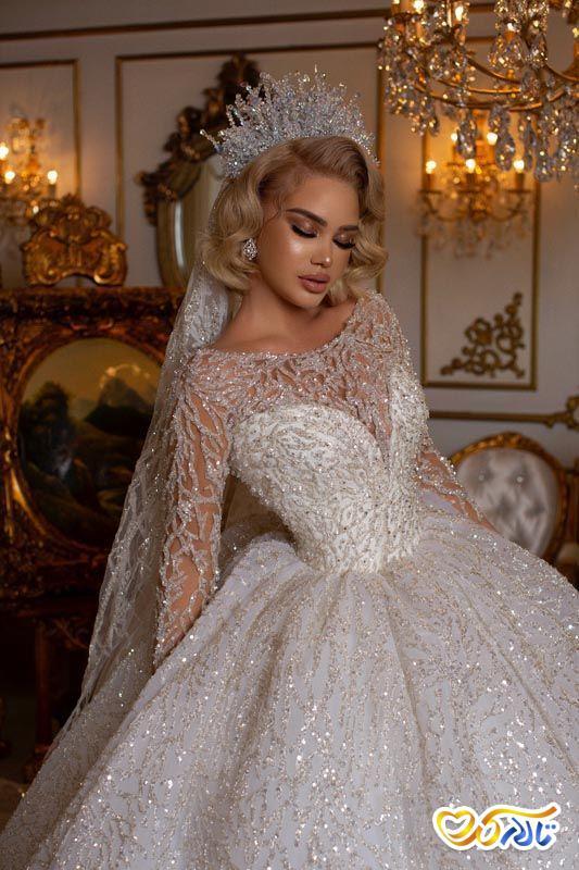 لباس عروس جدید سنگ دوزی شده