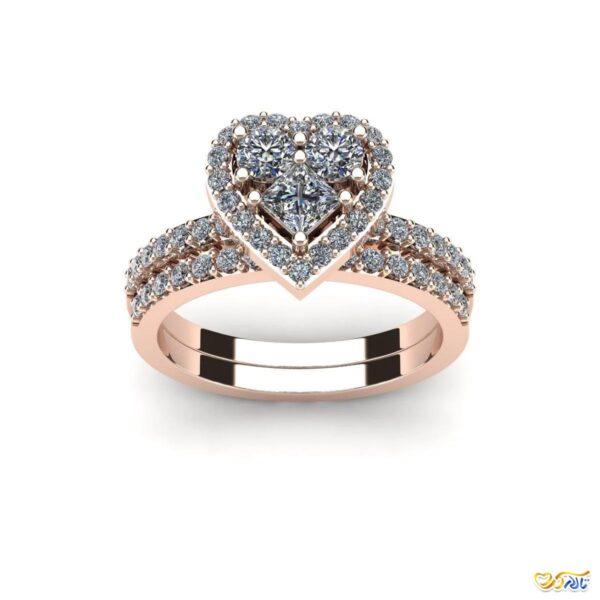 حلقه نامزدی جواهر قلب حلقه عروسی
