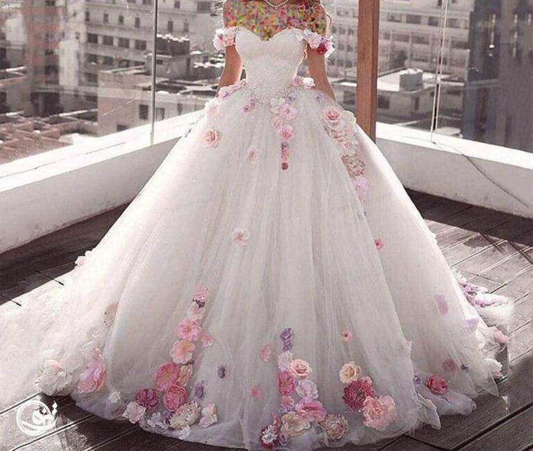 لباس عروس پفی گل دار