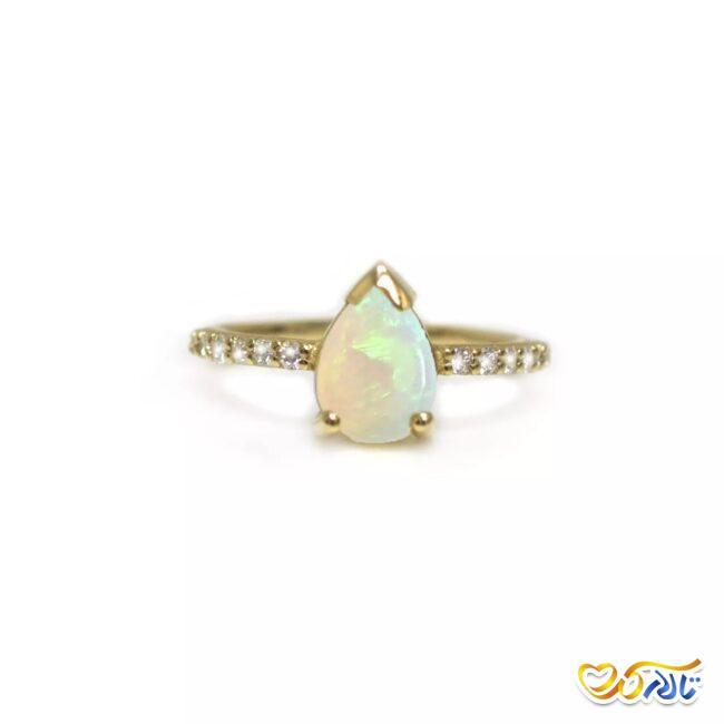 انگشتر نامزدی طلای 14 عیار با نگین الماس مدل اشک فرشتگان