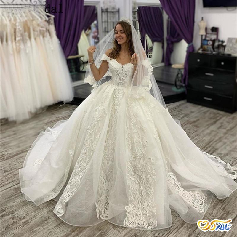لباس عروس پرنسسی حریر ارگانزا
