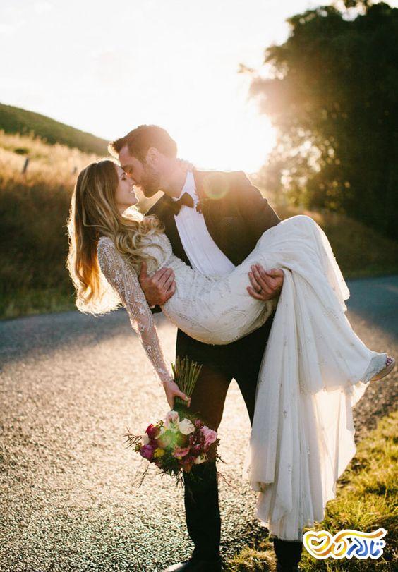 ژست و پوزیشن عاشقانه عروس داماد