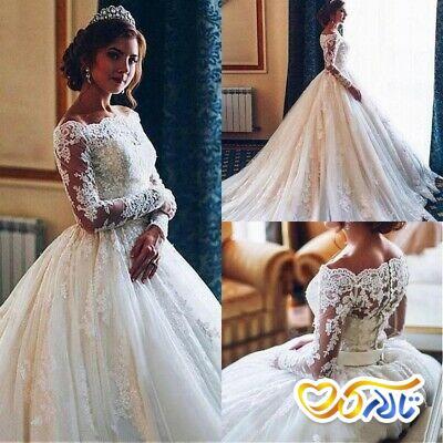 لباس عروس پفی آستین بلند