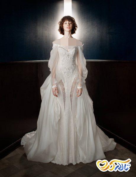لباس عروس بدون شانه دامن دار