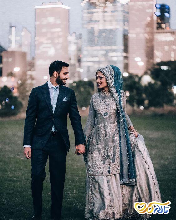 لباس عروس رنگی باحجاب