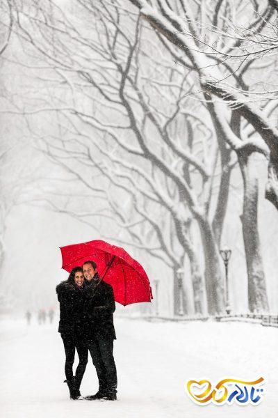 عکس نامزدی در زمستان