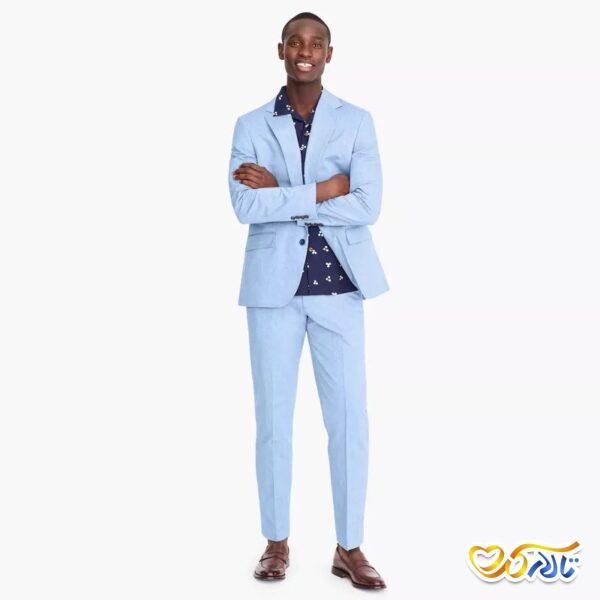 کت شلوار آبی پارچه ای