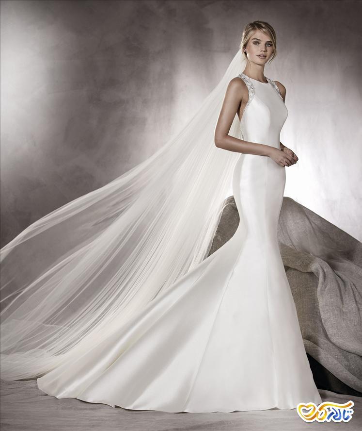 لباس عروس دنباله دار توری