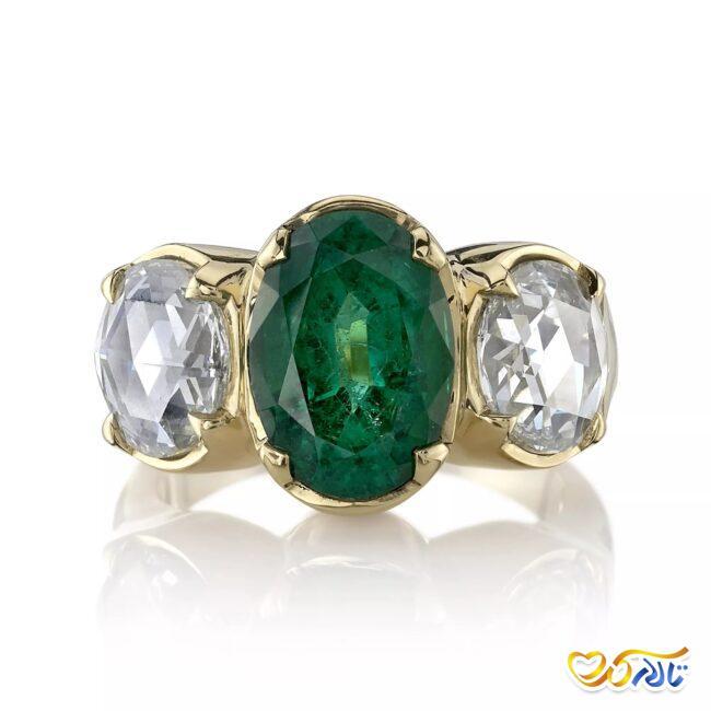 انگشتر نامزدی زمرد و الماس