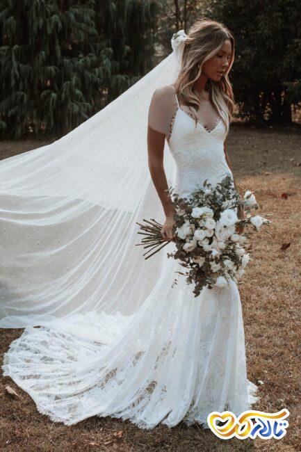 لباس عروس مروارید دوزی