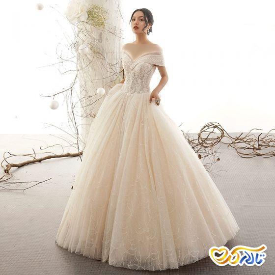لباس عروس با تزیینات مروارید