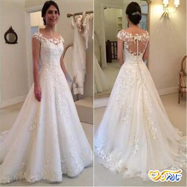 لباس عروس با دکمه مروارید