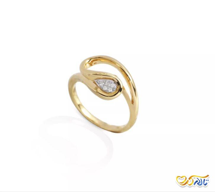 انگشتر نامزدی طلای زرد طرح موج