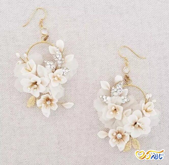 گوشواره ی گل زیبا برای عروس