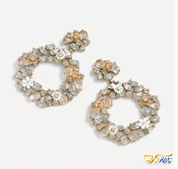 گوشواره حلقه ای طرح گل برای عروس