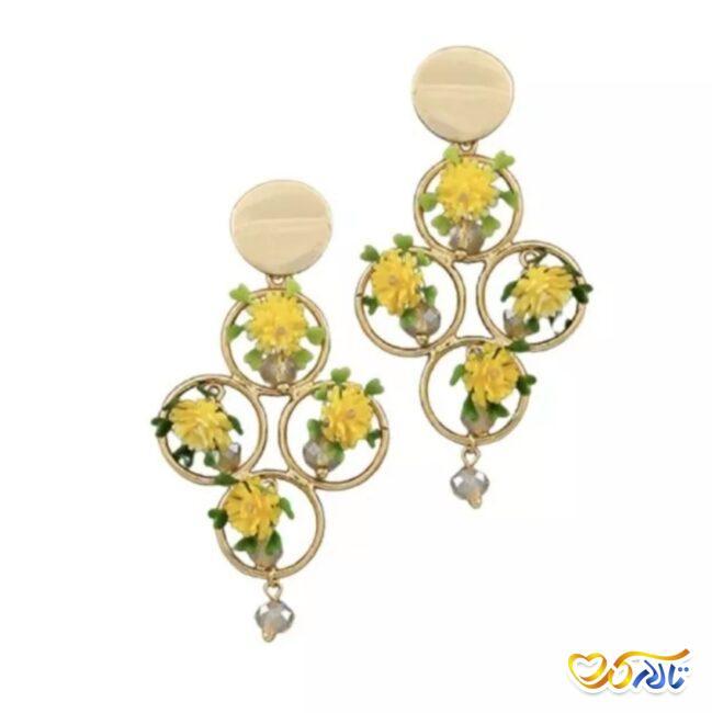 گوشواره ی طرح گل برای عروس