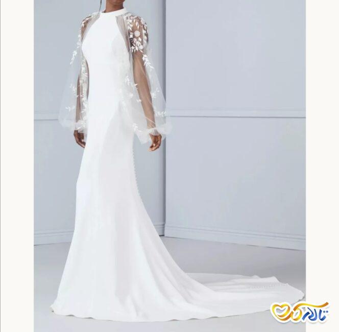 مدل لباس عروس آستین بلند حریر