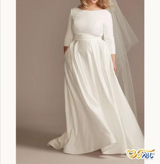 لباس عروس ساتن سایز بزرگ