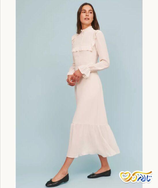 مدل لباس عروس یقه بلند