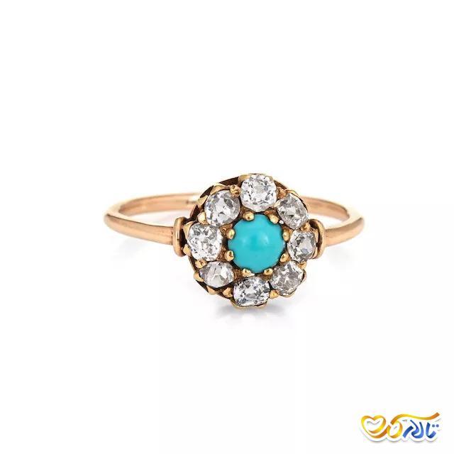 حلقه نامزدی الماس و فیروزه