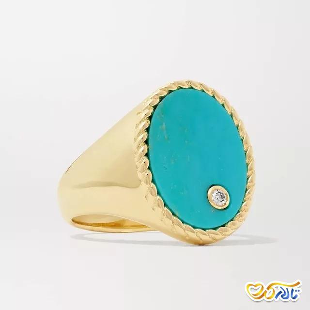 انگشتر طلای فیروزه و الماس