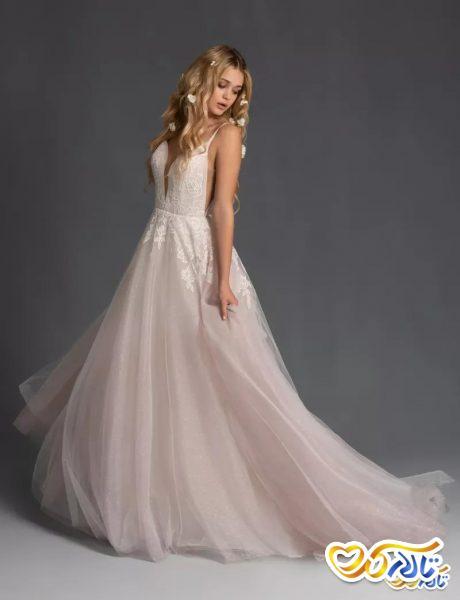 لباس عروسی مناسب نامزدی دنباله دار