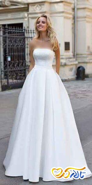 لباس عروس یقه دکلته راسته
