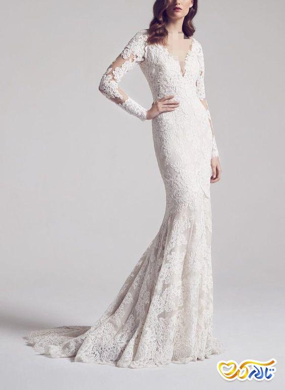 لباس عروس مدل ماهی آستین بلند دانتل