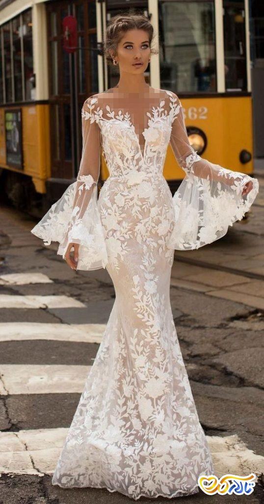 لباس عروس مدل ماهی آستین کلوش