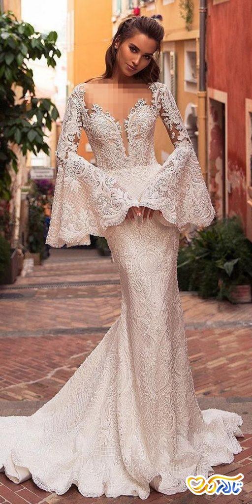 لباس عروس آستین کلوش مدل ماهی