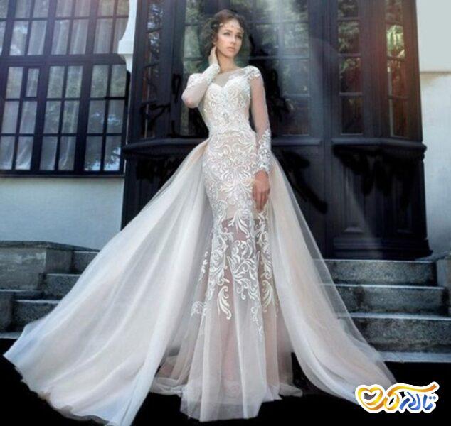 لباس عروس مدل ماهی دو دامن
