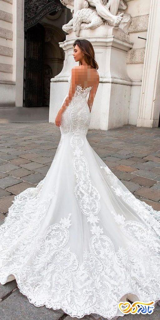 لباس عروس دنباله دار مدل ماهی