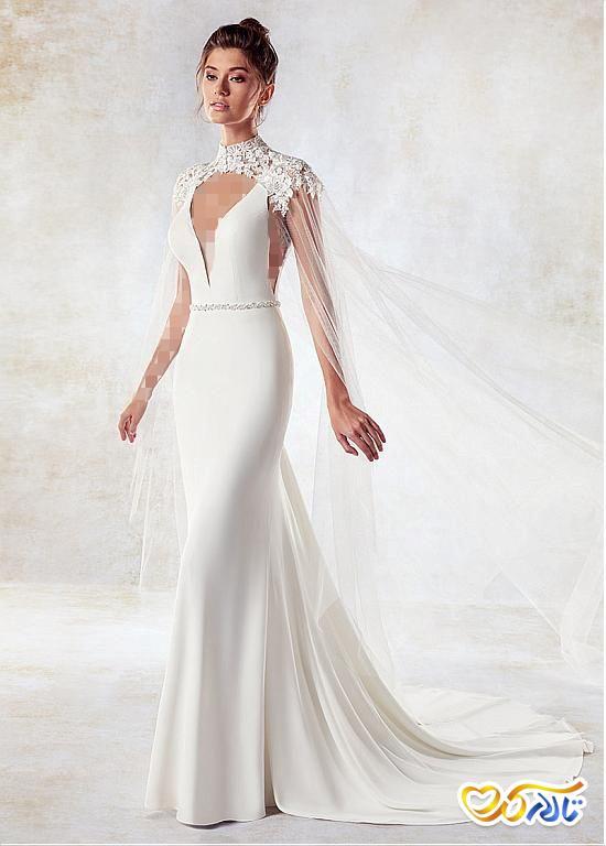 لباس عروس شنل دور گردن مدل ماهی