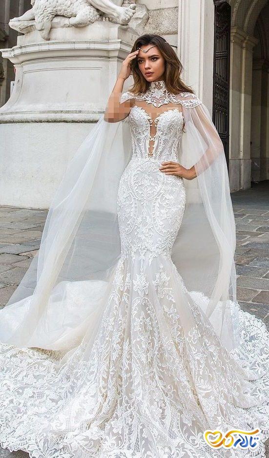 لباس عروس شنل دور گردنی مدل ماهی