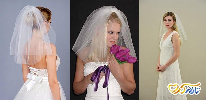 تور عروس شانه ای کوتاه