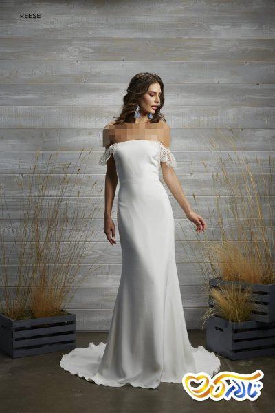 لباس عروس بدون شانه بلند