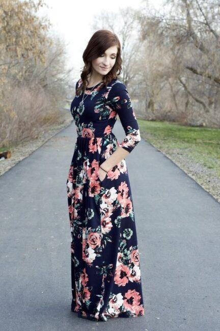 لباس مجلسی بلند گل دار