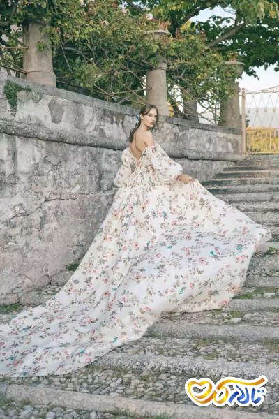 لباس عروس گلدار شیک دامنه