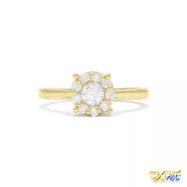 انگشتر طلای نامزدی با نگین الماس خوشه ای