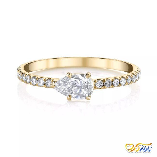 انگشتر نامزدی طلای زرد الماس با نگین طرح گلابی