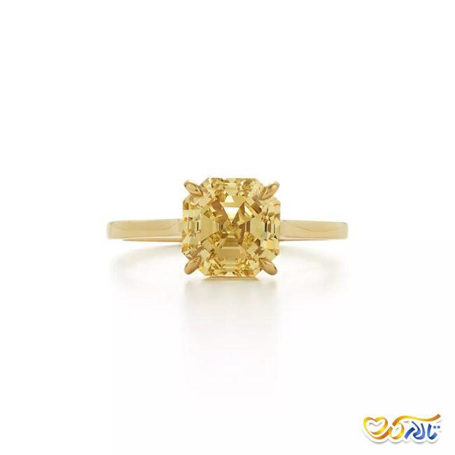 انگشتر نامزدی طلای زرد با الماس زرد رنگ