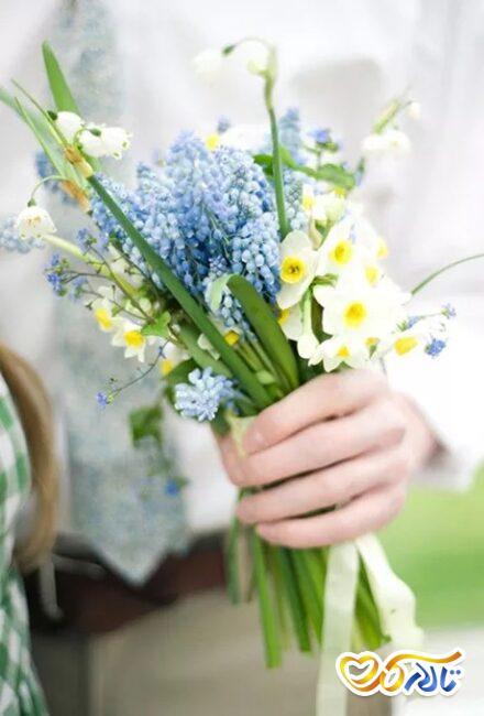 دسته گل نرگس برای عروس